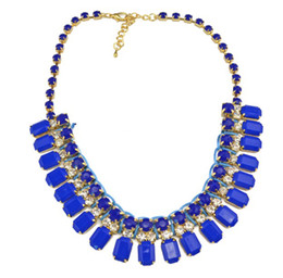 idealway New Arrival European Style Gold Plated Fluorescent Color Resin Rhinestone Choker bread Necklace