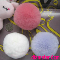 Wholesale Real Rex Rabbit Fur Pom Keychina Ball Bag China Phone Accessories Diameter cm