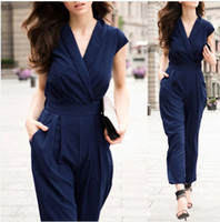 Wholesale Women Office Lady Sexy Deep V neck Overall Rompers Jumpsuit Tunic Playsuit