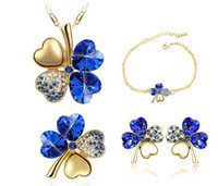Wholesale 18K GP Crystal Bridal Set Fashion Four Leaf Clover Necklace Earrings bracelet Brooch Jewelry Sets