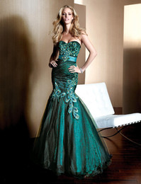Wholesale new design hot seller mermaid dresses Peacock turquoise dress women embroidery custom size color Prom Cocktail Dresses