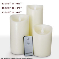 Paraffin Wax+HIPS battery operated candles remote - D3 X5 Ivory Battery Operated Flameless Remote Control LED Candle with Moving Flame Wick