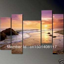 framed 5 panel large purple wall art beach sunset painting 5 panel canvas art picture interior decoration m0017