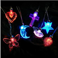 Wholesale LED Red and Blue Double Flashing Necklace Acrylic Light Emitting Pendants Evening Party Decoration Kids Toy