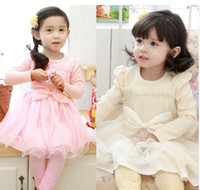 Wholesale 2014 spring girl dress girl ruffles dress Big knowknot baby girl yarn dress Children s dress erbaby