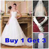 Wholesale 2014 Sweetheart A Line Organza Corset Wedding Dresses Garden Cheap Bridal Gowns Free Veil Gloves Bag