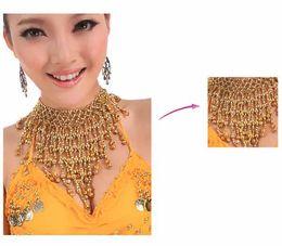 BellyQueen Goldamp ;Argent couleur Professional Belly dance Costume accessoire collier avec petites cloches Fr