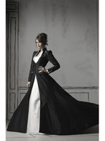 Wholesale Best Selling Princess Beading Chapel Train White Gothic Wedding Dresses With Black Long Sleeves
