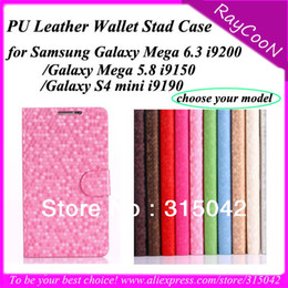 Wholesale 10pcs High Quality i9200 i9150 i9190 PU leather Cover for Samsung Galaxy s4 mini i9190 Mega