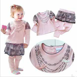 Hot fashion Girls Clothing Sets, long sleeve T-Shirt+pantskirt Baby clothes set Outfit tutu skirts