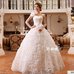 Wholesale 356 fashionable bridal gowns vestido de noiva sexy multi flowers one shoulder ball gown bridal wedding dresses