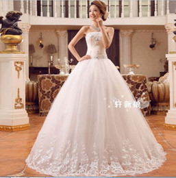 Wholesale 357 Vestido de noiva bridal gowns fashion sexy embroidery lace up big bow ball gown bridal wedding dresses