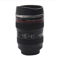 Wholesale 5 Generation stainless steel liner travel thermal Coffee camera lens mug cup ML Black