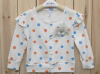 Wholesale Girl s dot polka cardigan autumn long sleeve flower cardigan blaser girls jacket gymboree korean kids clothes cute baby girl clothes