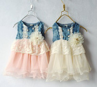 Summer Ball Gown Knee-Length New baby girl's denim jeans dress 2013 summer TUTU dresses lace flower kid's sleeve wear children's clothing pink baby garment