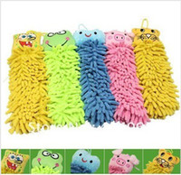 Wholesale Microfiber cartoon Hanging towel Cute animal cleaning towel lovely animal face towel