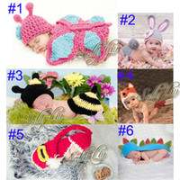 Wholesale Handmade Children Hat Newborn Baby Crochet Animal Beanies Photography Props infant Costume Outfits