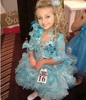 Jewel barrett pictures - Kids Pageant Dresses Isabella Barrett Summer Blue Short Sleeve Organza Off Girl Pageant Dress dhyz