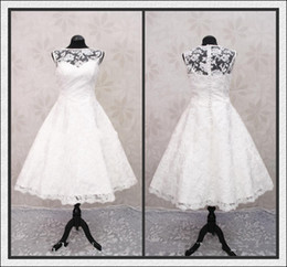 Wholesale New Elegant Real picture Bateau Lace Ball Gown Ribbon Tea length Bridal Gown Wedding Dresses S859