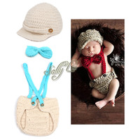 Wholesale Handmade Crochet Baby Hat Children Beanie Match Braces Diaper Cover Set with Bow Tie for Photo Props