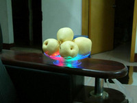 Wholesale 20 cm Diameter LED Flashing Candy Dish Colorful gradient Plastic Fruit Plate for Bar KTV Supplies