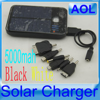 Wholesale 5000mAh USB Solar Charger Solar Panel External Battery Portable power bank for Cell phone tablet PC