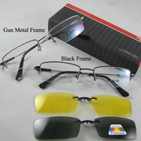 Wholesale Unisex Eye Frame Glasses Magnetic Clip on Sunglasses Gray Polarized Yellow Night Vision Lens
