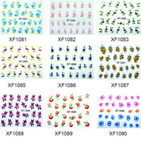 Wholesale Girls artificial flowers nail art stickers Shapes colorful watermark nail decals t5569