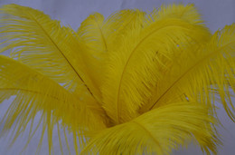 Wholesale -100 pcs lot 14-16inch Yellow Ostrich Feather Feathers Plume wedding centerpiece wedding decor party decor