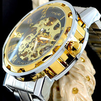 Wholesale New Fahion Gold Skeleton Automatic Mechanical Watch Stainless Steel Mens Watch Wrist Watch MCE