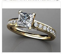 Wholesale 100 new CT Princess Cut Certified Diamond Engagement Ring k YELLOW Gold Bridal