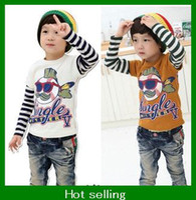 Wholesale Cartoon Shark Cotton tshirt Children Boys long sleeves T shirt kids boys clothes