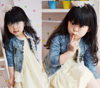 4T-5T denim jacket - Jeans Jacket Fashion Lace Princess Coat Children Outwear Blue Denim Jackets Girls Cute Casual Coat