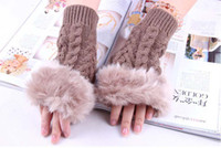 Wholesale 30pcs Lovely Artificial Cony Hair Half Finger Gloves Cold proof Gloves Knitted Gloves Warming G