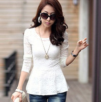 Wholesale Korea new fashion lace long sleeve women blouse long pattern Bottoming BLOUSE large spandex fabric