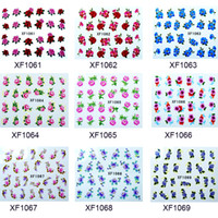 Wholesale Charming water lily rose flowers watermark nail art stickers patterns nail decals salon t5577