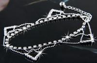 Cheap Free Shipping Wholesale 6PCS Fashion Rhinestone Charms Metal Anklet Bracelet, Ankle Bracelet