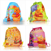 Wholesale 12Pcs Winnie the Pooh esign kids Cartoon Drawstring Backpack Bag kids school bags Non woven34 CM
