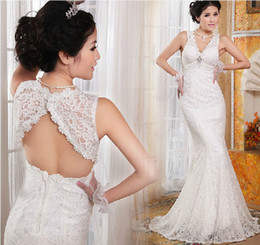 Hot Sexy Trumpet Mermaid Court Train Keyhole Back Lace Wedding Dresses Open Back