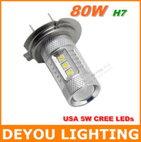 LED Bulb SN-7G-H7W-CREP-80W LED Hot Sale CREE 80W H7 LED Fog Light 12V 24V car DRL light lamp bulb car lighting Free shipping