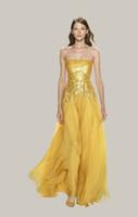 Chiffon 3/4 Long Sleeve Short/Mini Elie Saab Gold off the shoulder beaded sequins Chiffon Floor Length Evening Dress