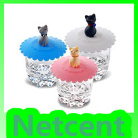 silicone cup lid - Silicone Cup Lid Lovely Elegant Lazy Kitten Seal Cup Cover for Cups Silicone Leak Proof