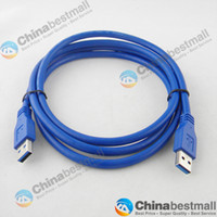 Wholesale High speed m m m USB Male to Male cable Computer Extension Cord Cables Blue