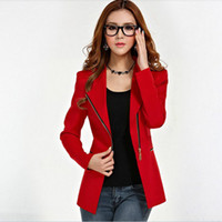 Cotton women suits - Fashion women s spring autumn zipper slim two dress ways women designer blazers medium long small suiit zip decoration women suits