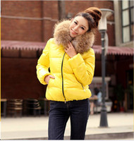 fur hooded jackets - New Fashion Women Outerwear Winter Coat jacket Warm Hooded Down Faux Fur Collar Color Size Hot
