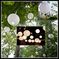 New Hanging Livre blanc Lanternes éclairage avec 4 '' 8 '' 12 '' 16 '' 20 '' et 24 'tailles »pour mariage bricolage Décorations lanternes chinoises Whloesale