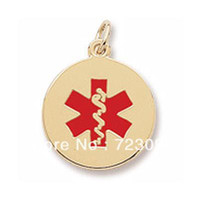 Pendant Necklaces alert necklaces - a k gold plated medical alert charm with red paint smooth and flat back for engraving