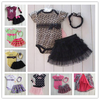 Wholesale 2014 Hot sale color Baby Girls Suits Rompers Lace TUTU Skirts Headband fashion Summer Girls set