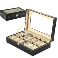 Leather glass jewelry box - 12 Black Leather Mens Watch Box Display Case Organizer Glass Top Jewelry Storage