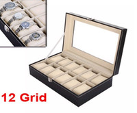 glass jewelry box - Watch Box Large Mens Black Leather Display Glass Top Jewelry Case Organizer
